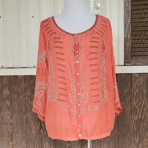 Free People orange blouse size L embroidered